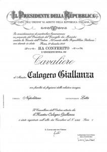 ONORIFICENZA Calogero Giallanza